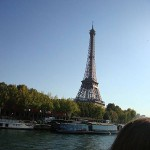 Paris, Eiffel tower. Barge cruise from Bruges to Paris
