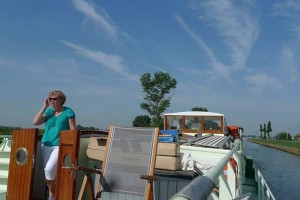 Barge cruises, coming on the sundeck.